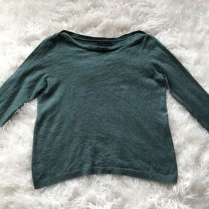 TAHARI GREEN PURE LUXE CASHMERE BOATNECK SWEATER